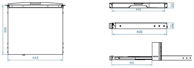 1ru keyboard drawer with kvm options